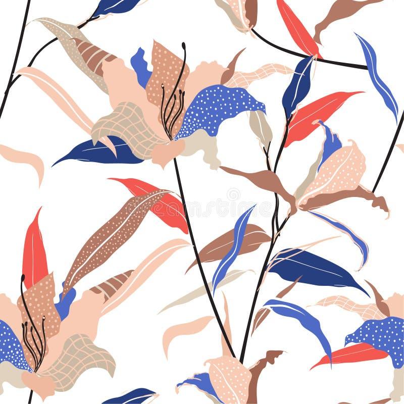 För liljablomman för den färgrika och moderiktiga moderna handen skissar den utdragna påfyllningen in med linjen och prickar den  stock illustrationer