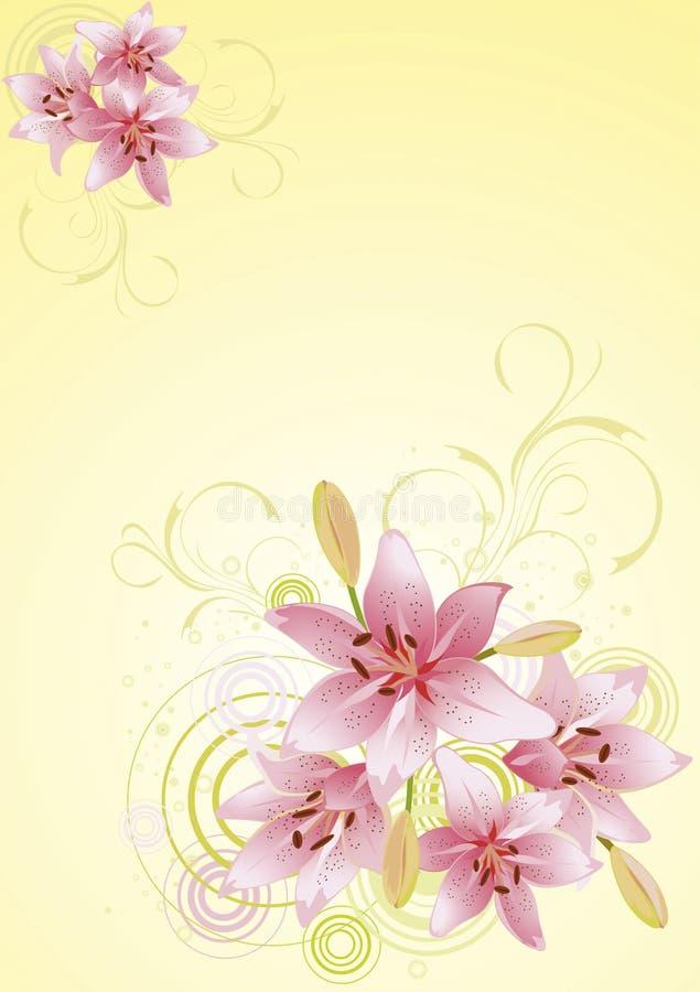 för liljapink för bakgrund blom- vektor royaltyfri illustrationer