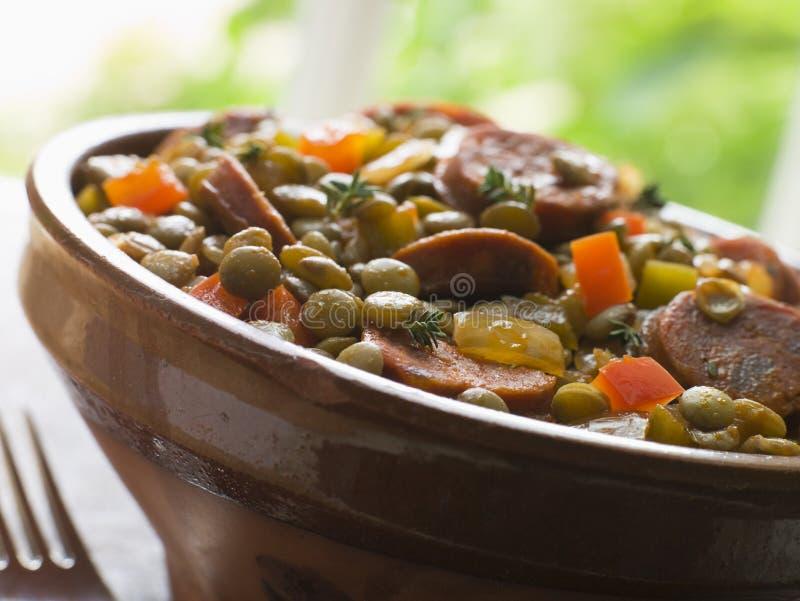 för linkorv för chorizo grön stew arkivbild