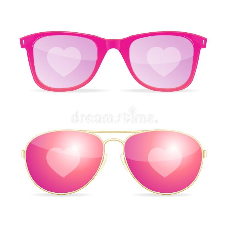 För linskvinna för realistisk solglasögon 3d rosa dröm och förälskelsebegrepp vektor royaltyfri illustrationer