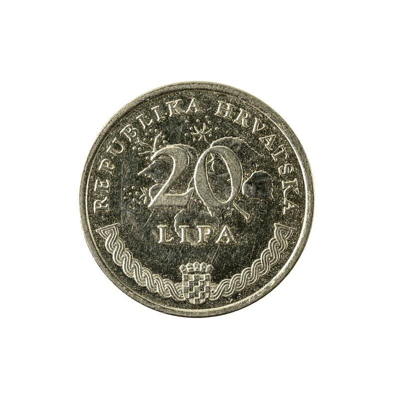 för lipamynt för 20 kroat avers 2003 arkivbild