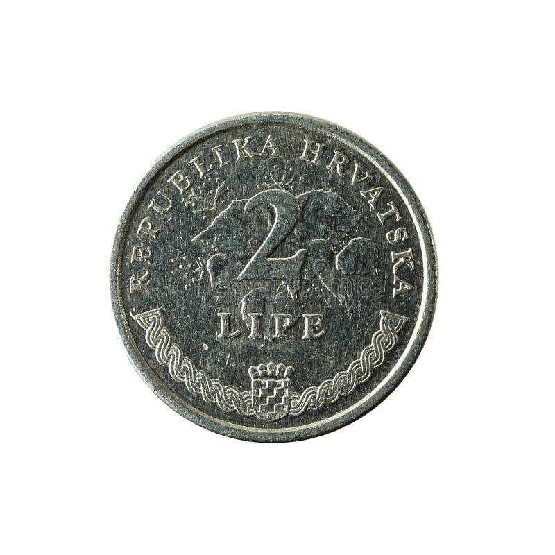 för lipamynt för 2 kroat avers 1997 fotografering för bildbyråer