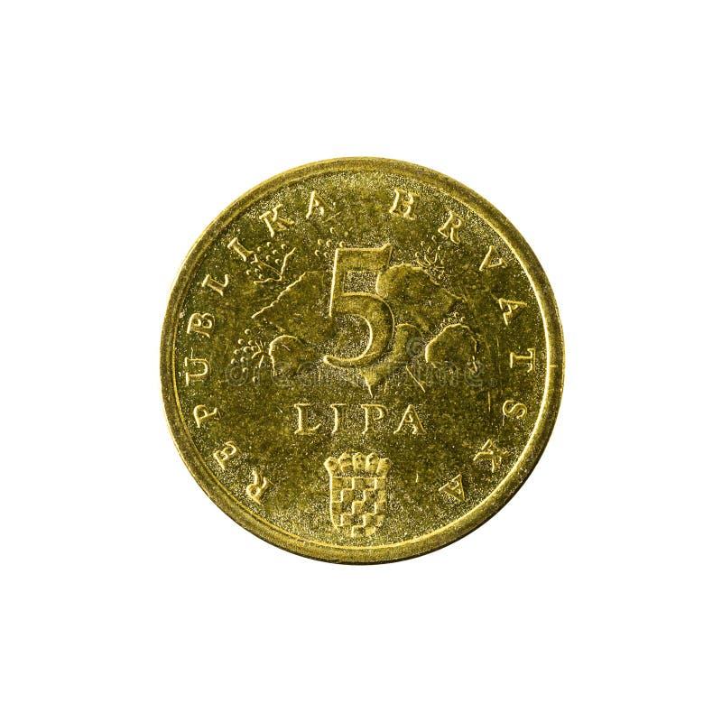 för lipamynt för 5 kroat avers 2011 arkivbild