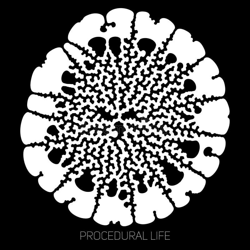 För livabstrakt begrepp för vektor rund okänd form Biologisk procedurmässig cell- tillväxtstruktur Differentiell tillväxt av vektor illustrationer