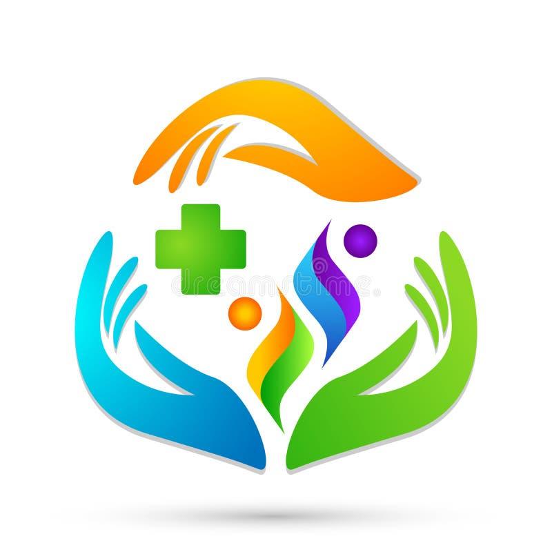 För livkors för familj att bry sig skyddar medicinska sunda händer för klinik logoföräldern som ungar älskar, vektorn för symbols royaltyfri illustrationer