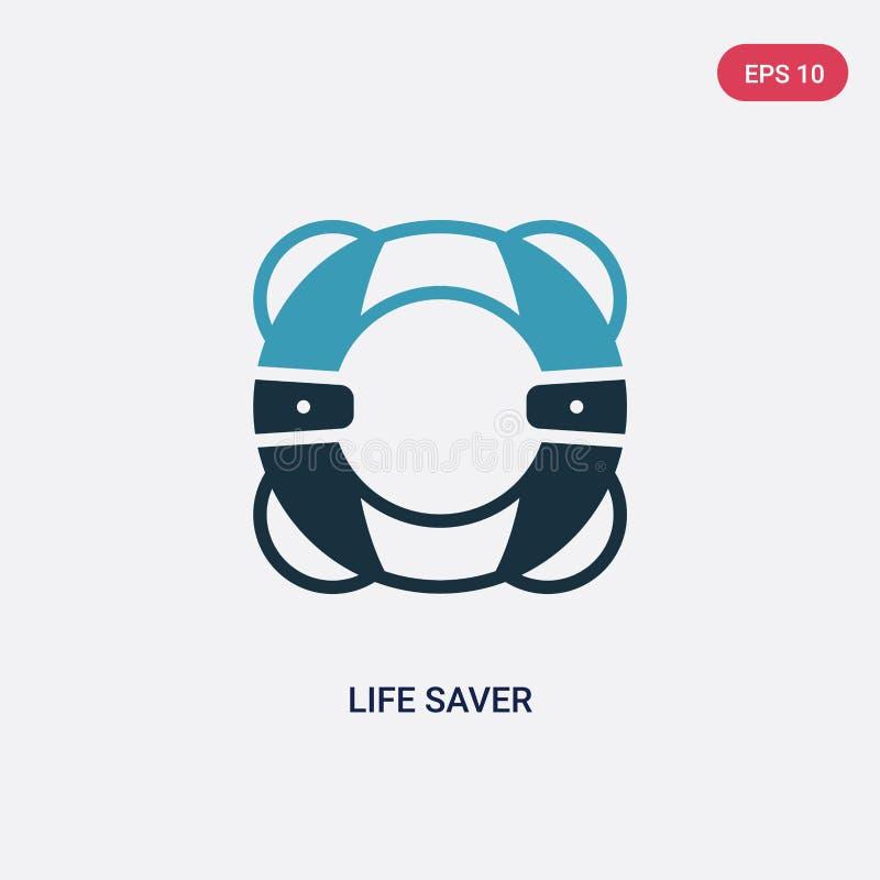 För livsparare för två färg symbol för vektor från säkerhetsbegrepp det isolerade blåa symbolet för tecknet för vektorn för livsp stock illustrationer