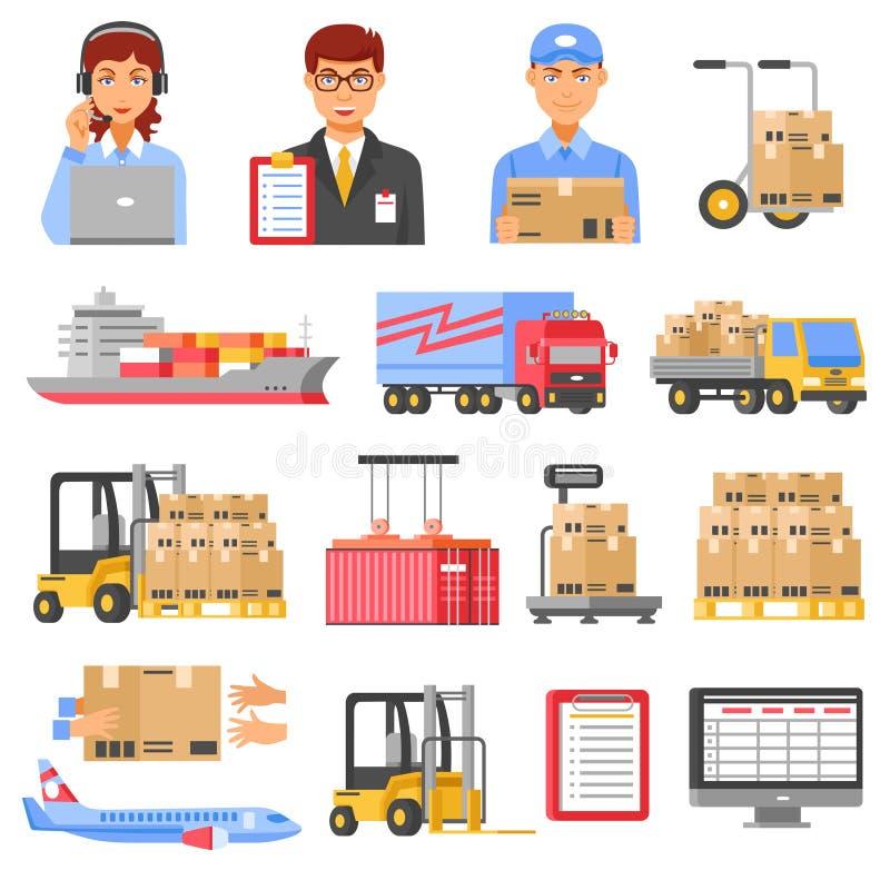 För logistik och dekorativ symbolsuppsättning för leverans vektor illustrationer