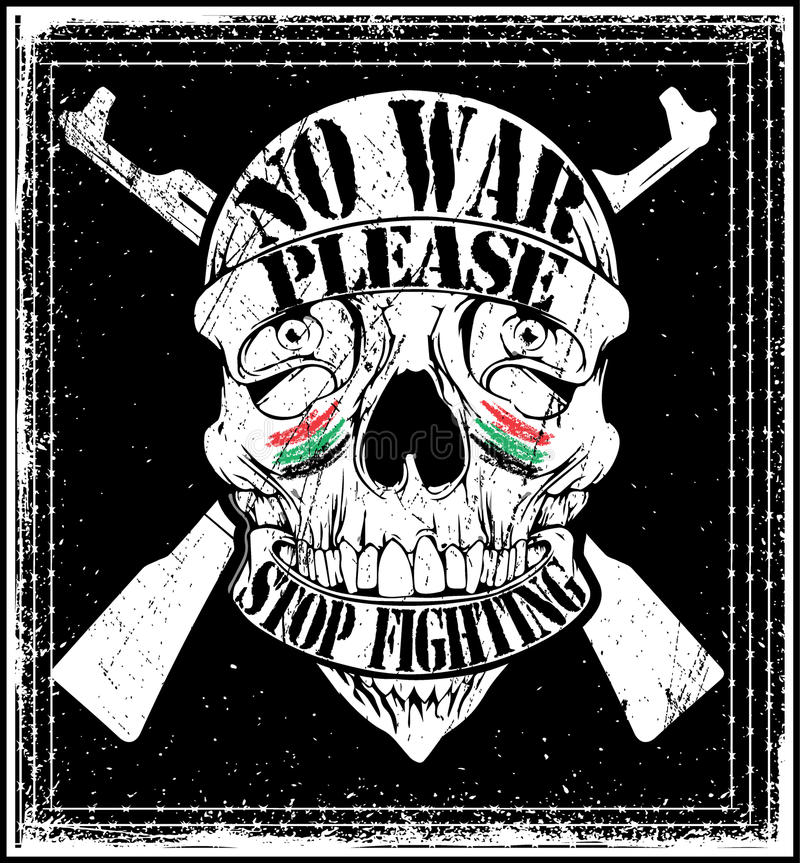 För Logo Emblem T för krig för skallemanstopp grafisk design skjorta royaltyfri illustrationer