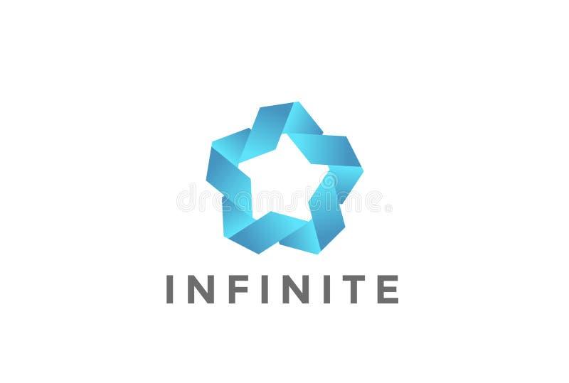 För Logo Looped för stjärna för fem punkt facklig vektor oändlighet royaltyfri illustrationer