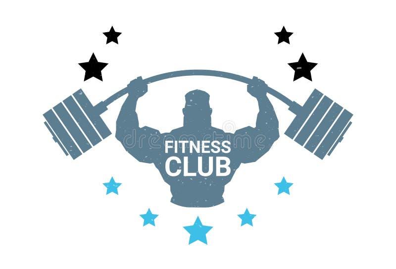 För Logo With Silhouette Athletic Man för konditionklubba skivstång håll på det vita bakgrundsemblemet av den moderna idrottshall royaltyfri illustrationer
