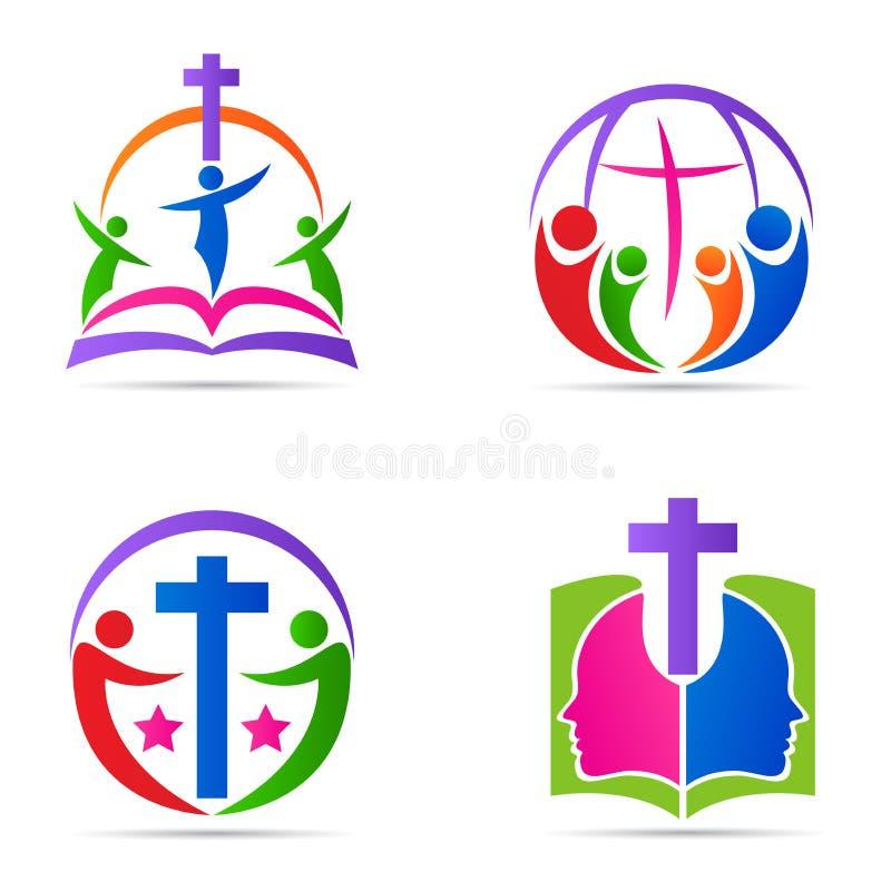 För logobibel för folk arg design för symbol för vektor för symbol för religion för kyrka för familj stock illustrationer