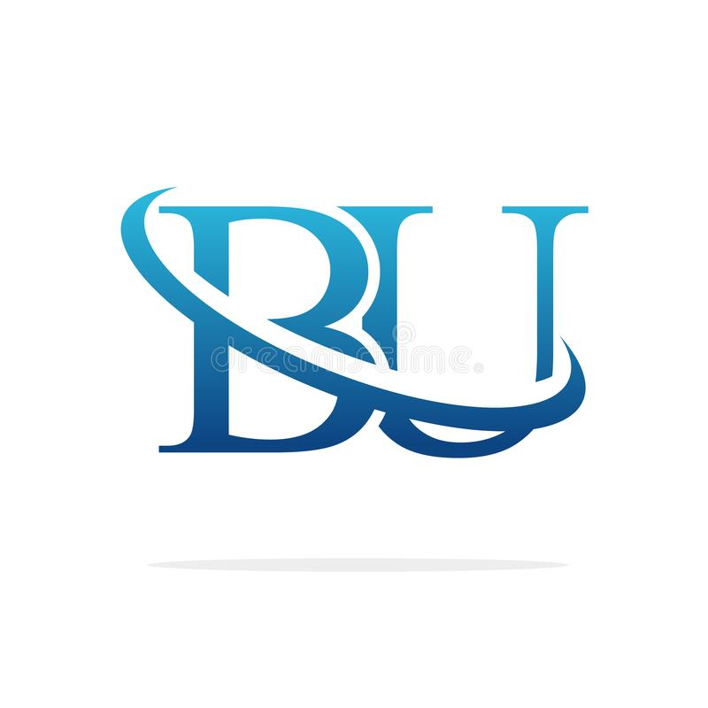 För logodesign för BU idérik konst för vektor vektor illustrationer