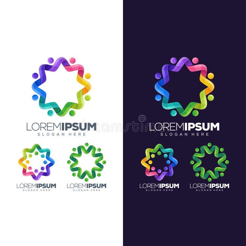 För logodesign för cirkel färgrik illustration stock illustrationer