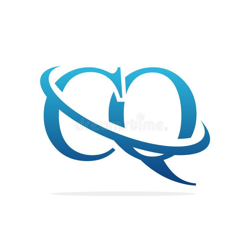 För logodesign för CQ idérik konst för vektor royaltyfri illustrationer