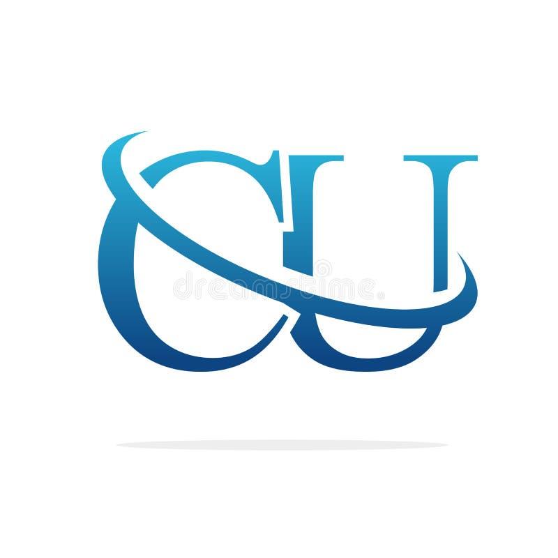 För logodesign för CU idérik konst för vektor vektor illustrationer