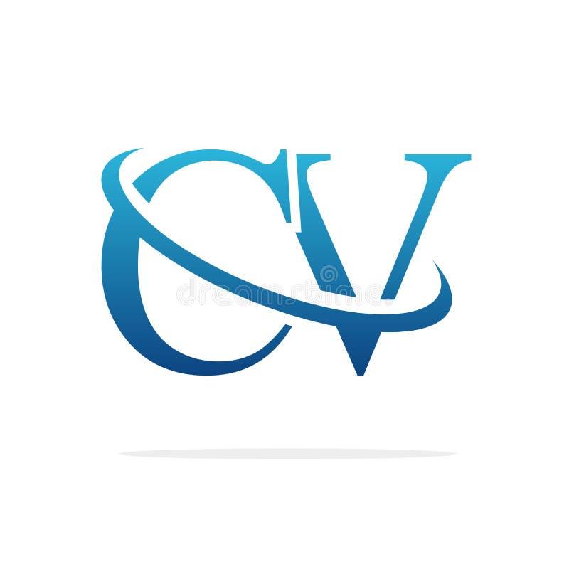 För logodesign för CV idérik konst för vektor royaltyfri illustrationer