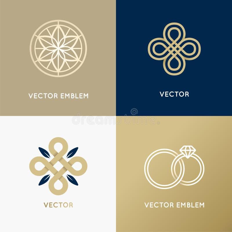 För logodesign för vektor abstrakta mallar i moderiktig minsta stil stock illustrationer