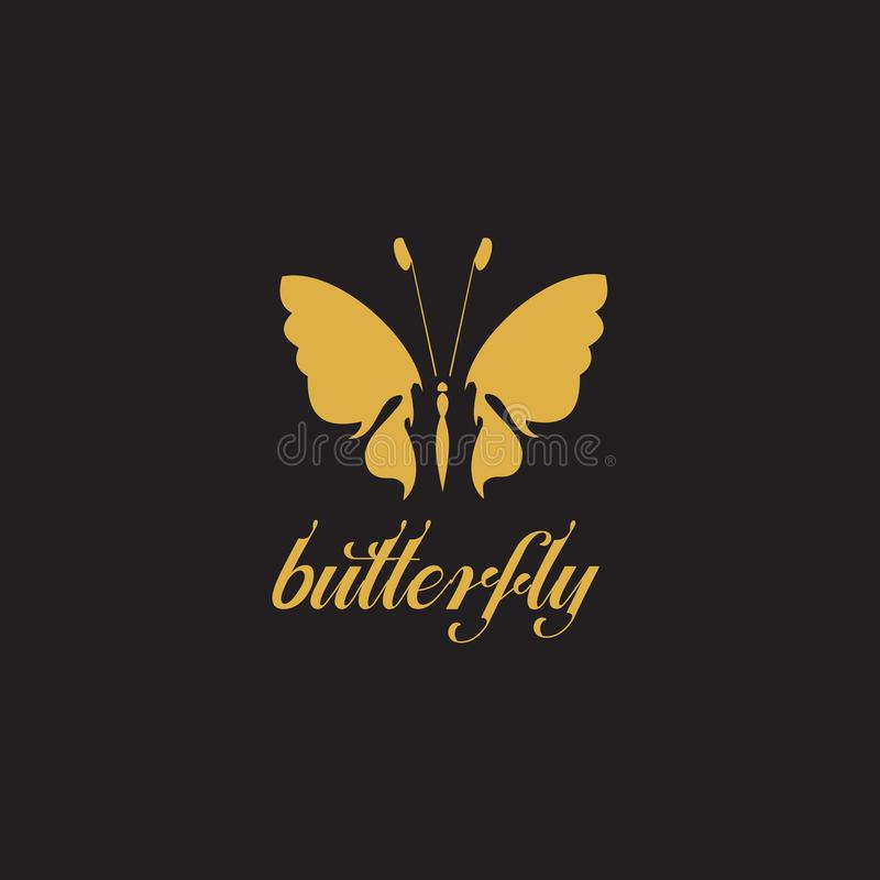 För logodesign för fjäril grafisk mall för vektor stock illustrationer