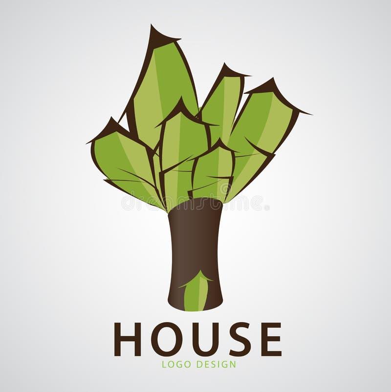 För logodesign för grönt hus illustration, trädhus, rengöringsduksymbol, ekologitecken royaltyfri illustrationer