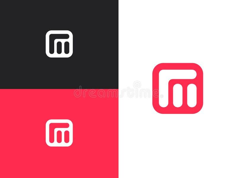 För logodesign för initial bokstav M beståndsdelar för mall vektor illustrationer