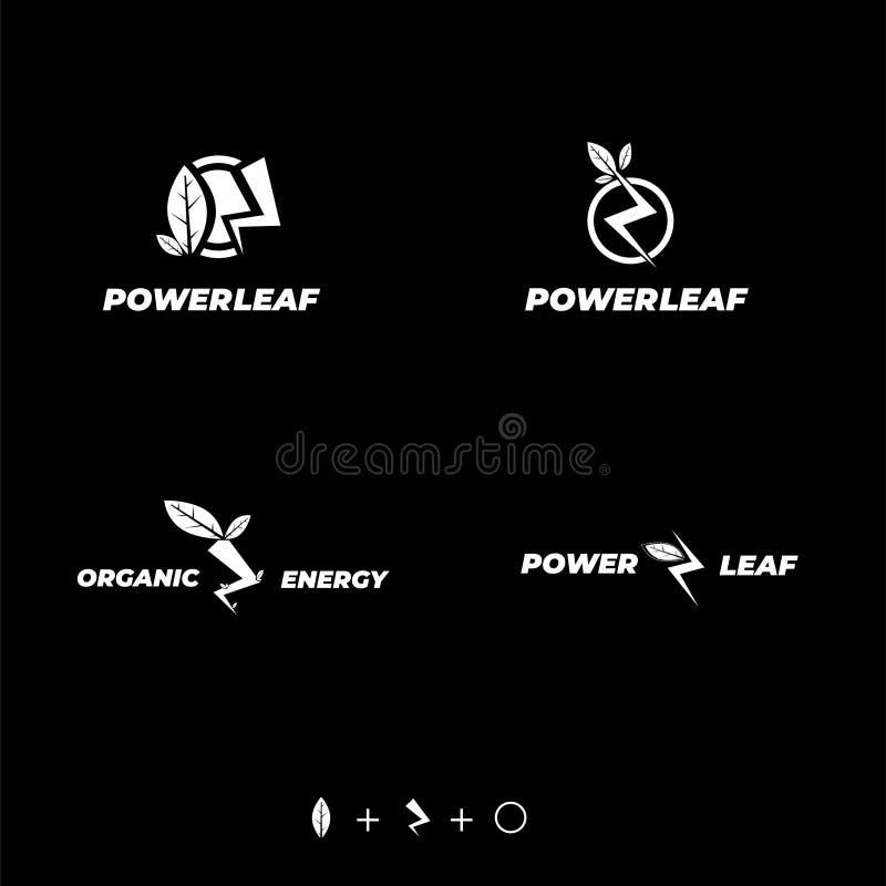 För logodesign för makt naturlig blad, cirkel och åska royaltyfri illustrationer