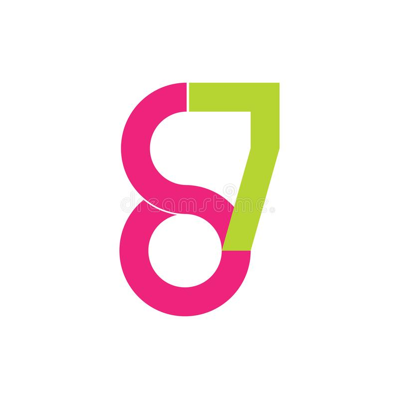 För logodesign för nummer 87 vektor vektor illustrationer