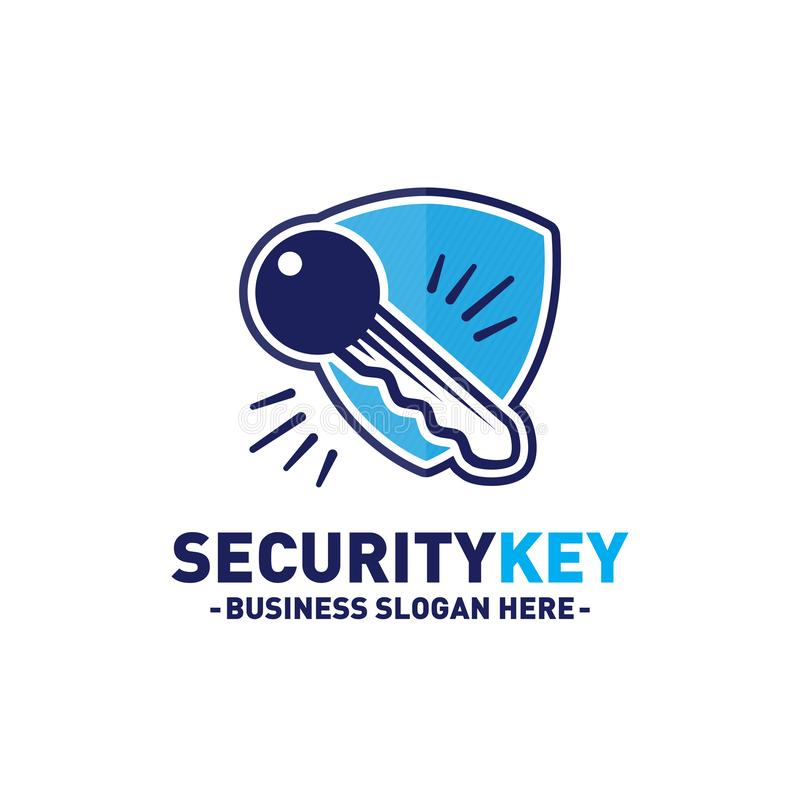 För logodesign för säkerhet nyckel- mall Vektor och illustration stock illustrationer