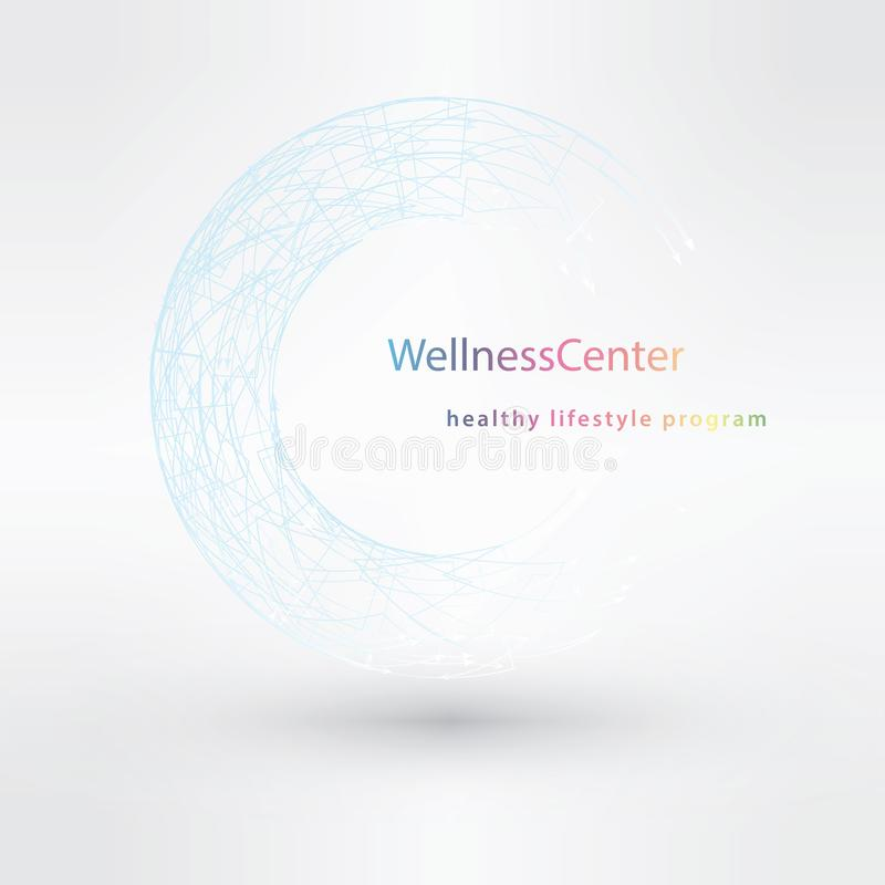För logodesign för vektor linjära begrepp för frisörer och wellnessmitt stock illustrationer