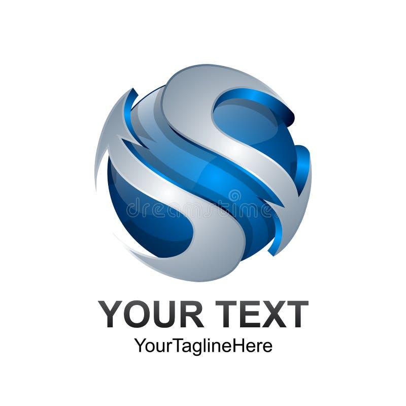 För logodesignen för bokstav S mallen färgade sfären för silverblåttcirkeln vektor illustrationer