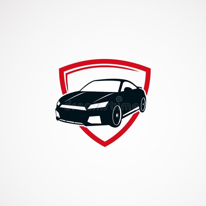För logodesigner för bil säker begrepp, symbol, beståndsdel och mall för affär vektor illustrationer