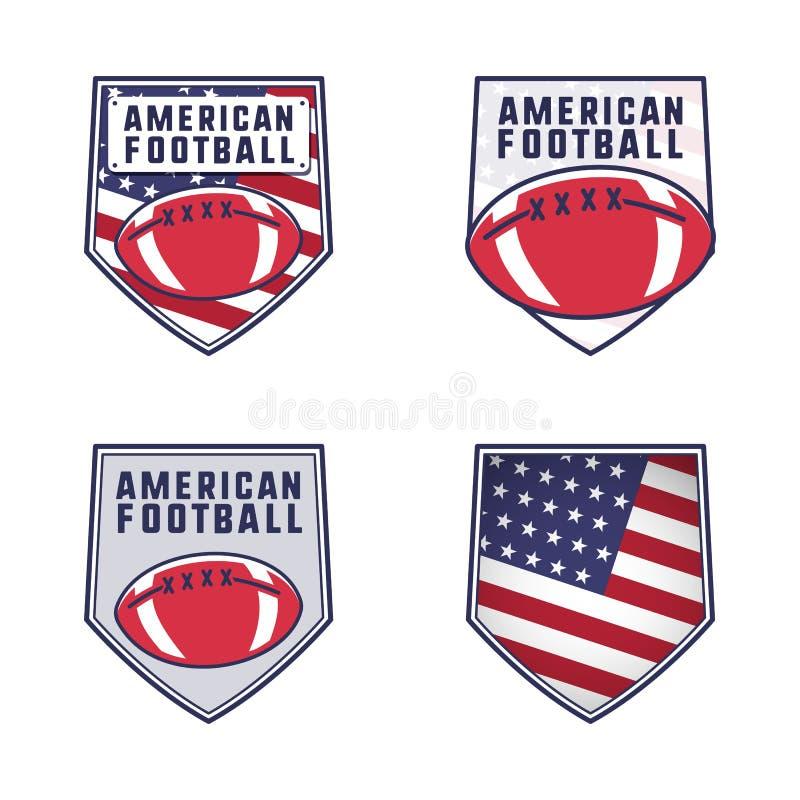 För logoemblem för amerikansk fotboll uppsättning Samling för USA sportemblem i plan färgrik stil Gulliga logotyper planlägger me royaltyfri illustrationer