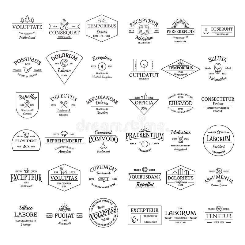 För logoemblem för tappning retro uppsättning arkivbild
