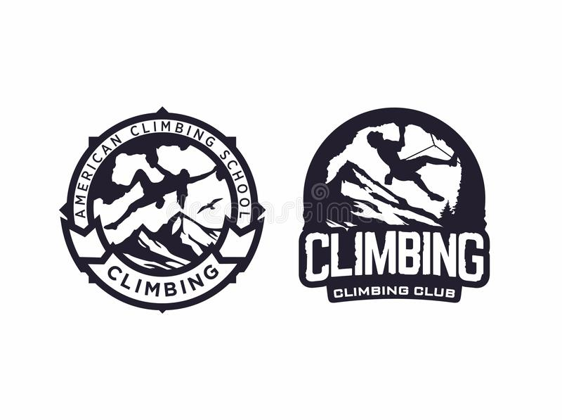 För logoemblem för modern vektor yrkesmässig klubba för klättring royaltyfri illustrationer