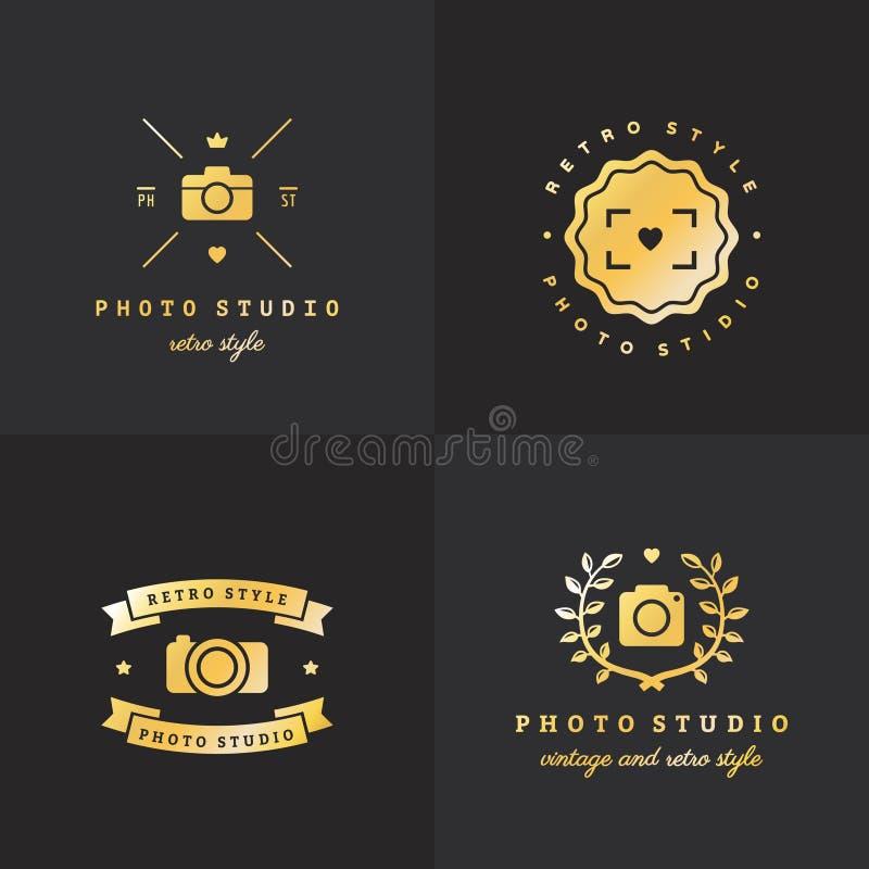 För logohipster för foto guld- uppsättning för vektor för tappning Del en vektor illustrationer