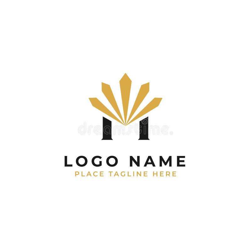 För logomall för bokstav M initial design illustration för gnistrandesymbolvektor royaltyfri illustrationer