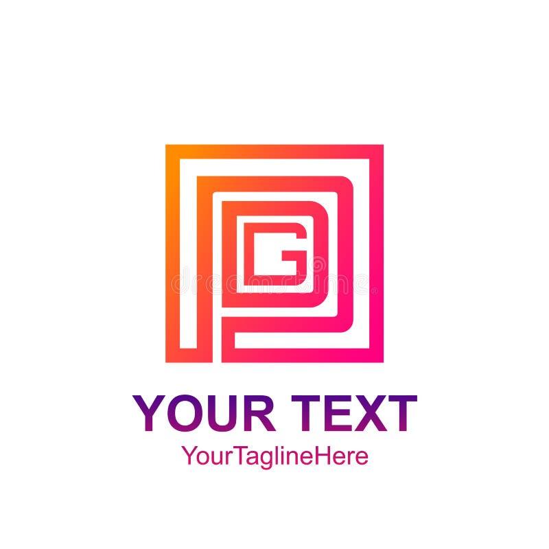 För logomall för initial bokstav PDG design för fyrkant för colorfull för buss royaltyfri illustrationer