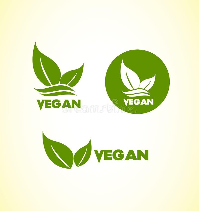 För logosymbol för strikt vegetarian vegetarisk uppsättning stock illustrationer