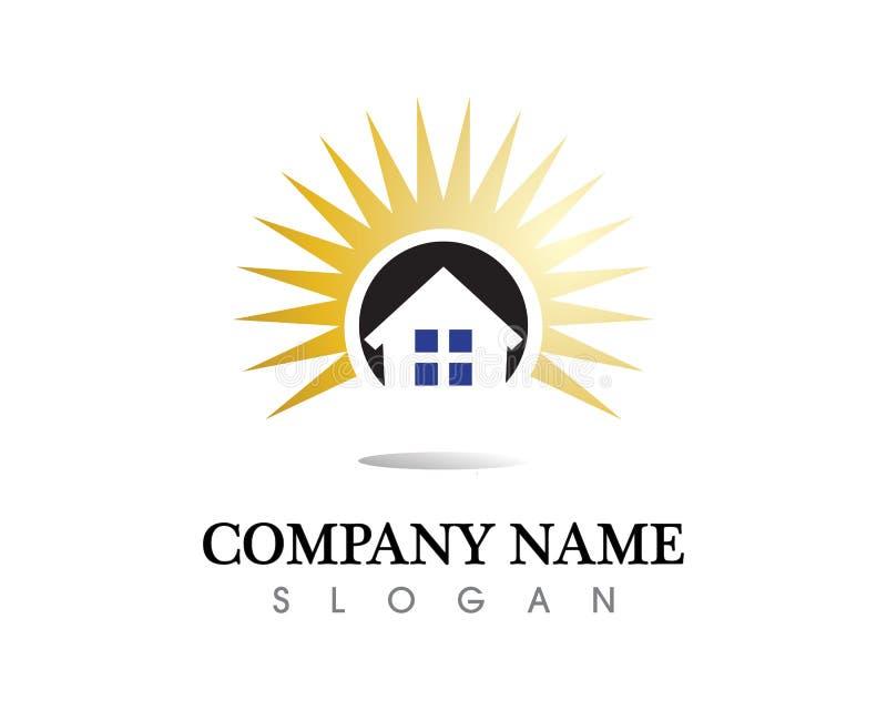 För logosymboler för fastighet och för hem- byggnader mall royaltyfria foton