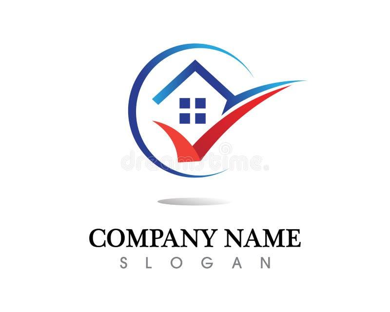 För logosymboler för fastighet och för hem- byggnader mall arkivfoto