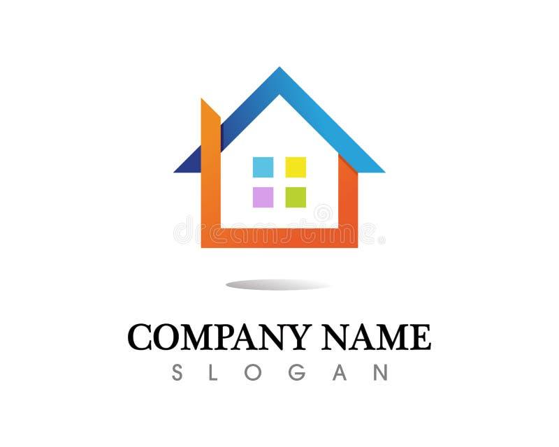 För logosymboler för fastighet och för hem- byggnader mall arkivbild