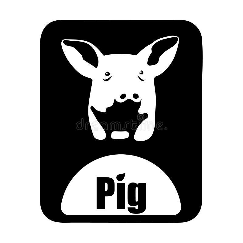 För logotypsvin för kinesisk kalender djurt monokromt huvud stock illustrationer