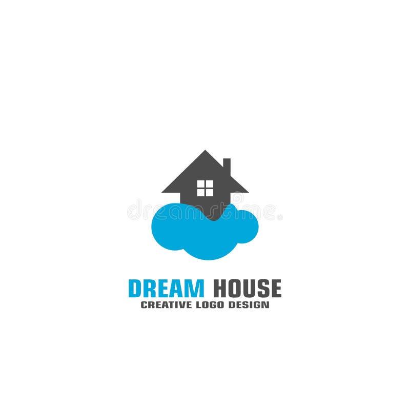 För logovektor för dröm- hus design royaltyfri illustrationer