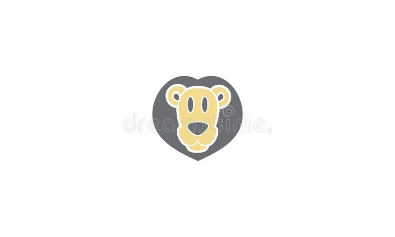 För logovektor för lejon gullig symbol vektor illustrationer