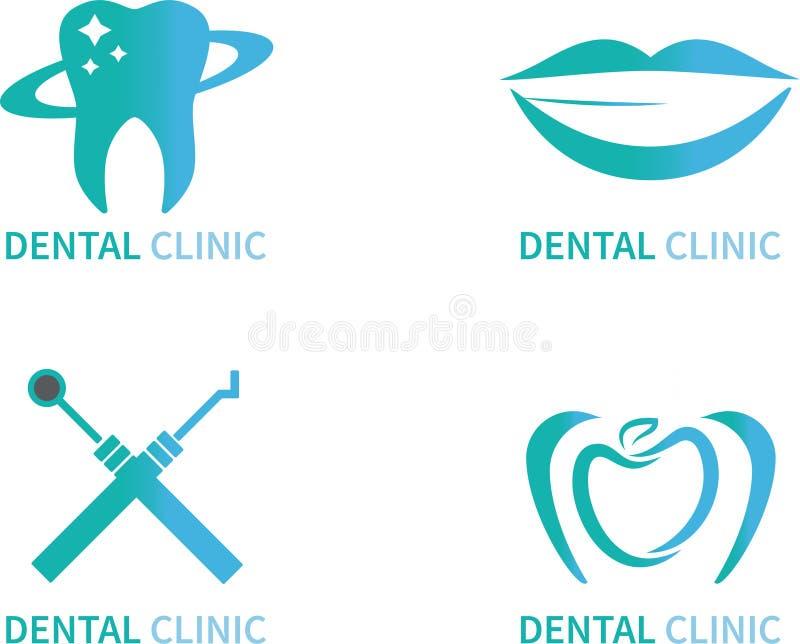 För logovektor för tand- klinik fastställd illustration vektor illustrationer