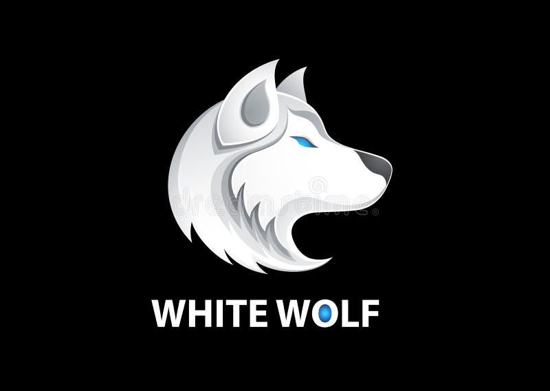 För logovektor för vit varg illustration stock illustrationer