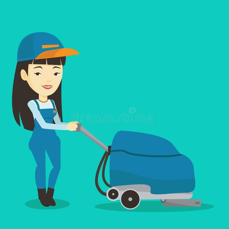 För lokalvårdlager för kvinnlig arbetare golv med maskinen royaltyfri illustrationer