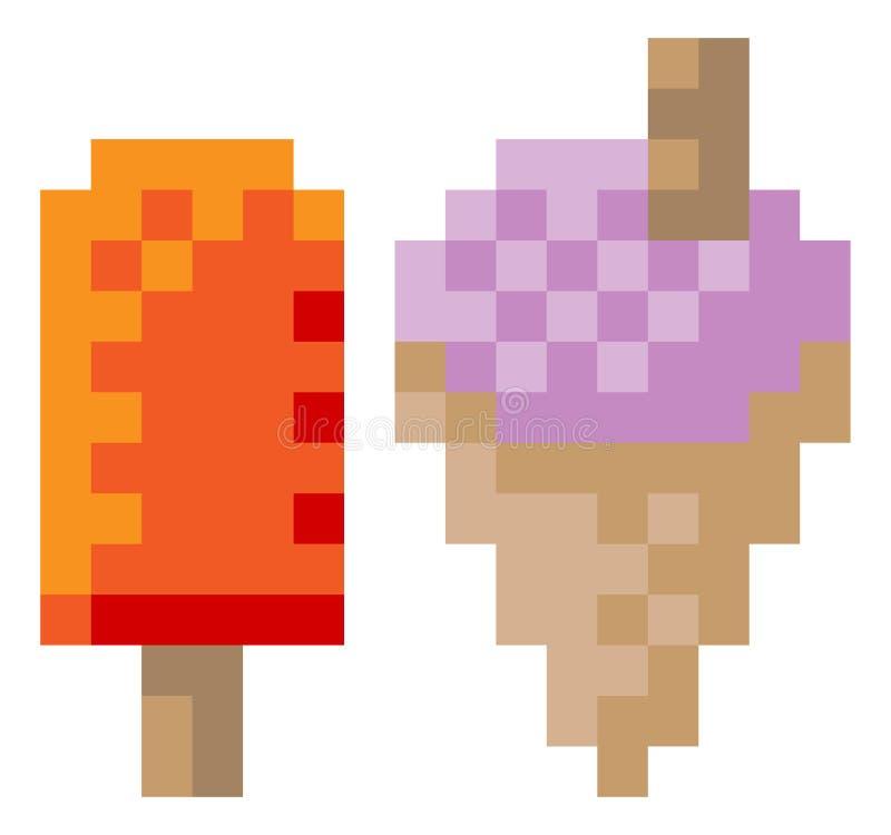 För Lolly Pixel 8 för djupfryst yoghurt för glass symbol bit stock illustrationer