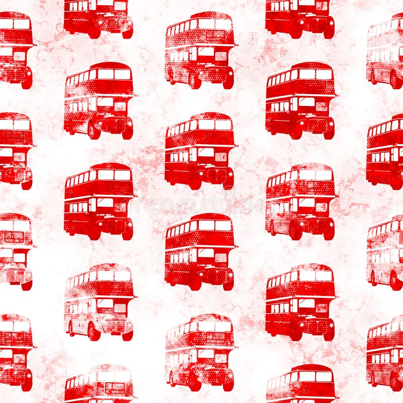 För London för Grunge sömlös röd modell buss royaltyfri illustrationer