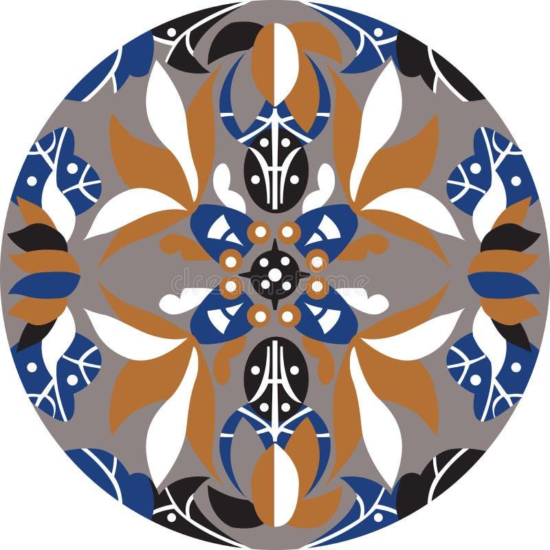 För lotusblommablomma för vektor orientalisk traditionell modell för cirkel vektor illustrationer