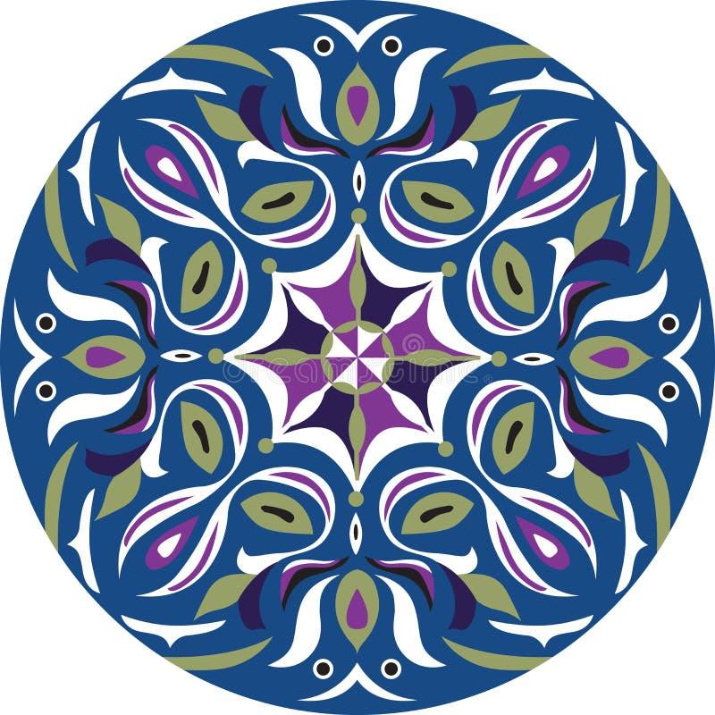 För lotusblommablomma för vektor orientalisk traditionell modell för cirkel för guldfisk stock illustrationer